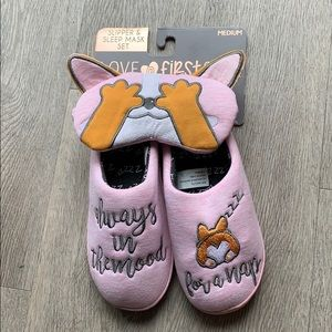 Corgi slipper and sleep mask set!